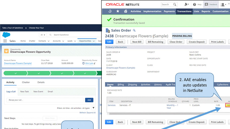 A software bot can pull information from the Salesforce.com CRM into the NetSuite financial application.