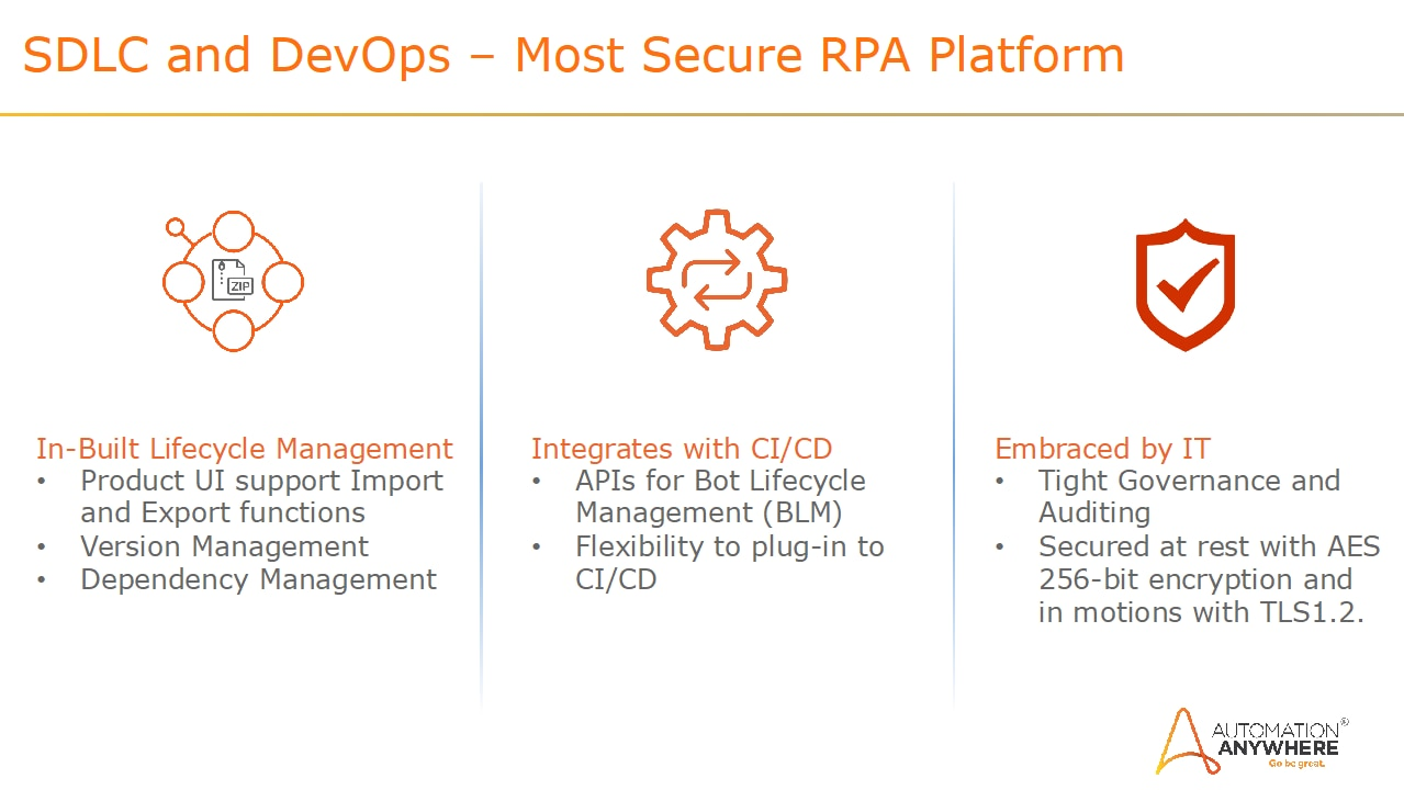 Incorporating RPA and security in the DevOps process results in built-in lifecycle management, integration with continuous improvement/continuous delivery, and is embraced by IT.