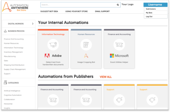 Automation Anywhere 企業内部的 Bot Store