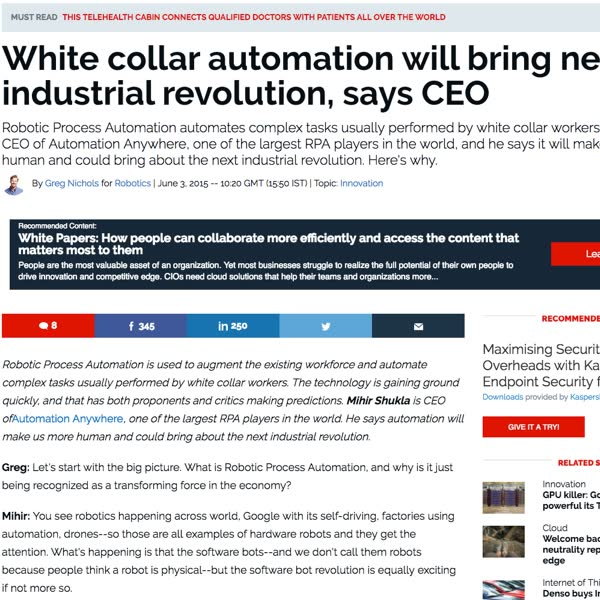 ZDNet: White collar automation will bring new industrial revolution, says CEO